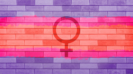 feminist flag brick background