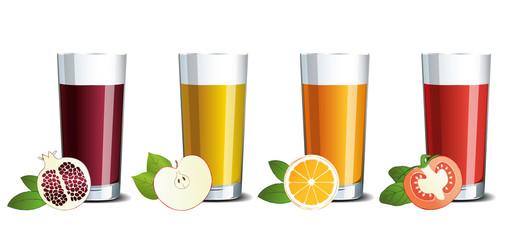 Glass glasses with pomegranate, apple, orange and tomato juice