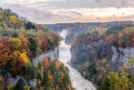 Autumn View of the Middle and Upper From Grandview in New York's Letchworth State Park