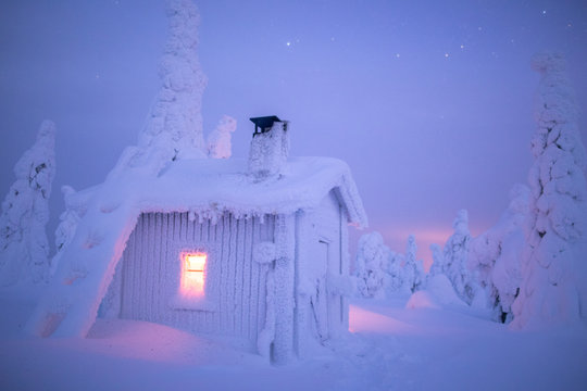Illuminated snow covered log cabin in forest at night during winter