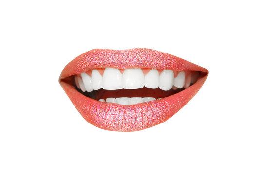 Beautiful young model with beautiful lips makeup, closeup