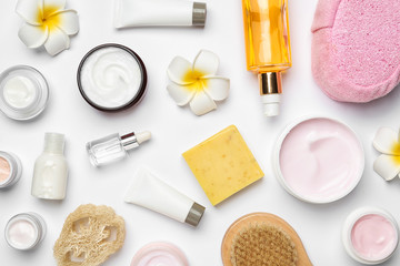 Wall Mural - Flat lay composition with body care products on white background