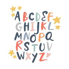 Vector brush alphabet. Lettering, funny letters, nursery style.