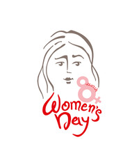 Women's Day linear modern vector template with lettering design 8 march and female face. Elegant greeting card design for International Women's Day celebration. Vector template