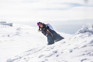 Women in snow on mountain