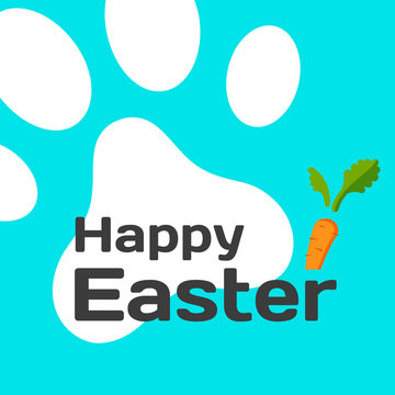 Happy Easter card with rabbit paw print and carrot. Vector illustration