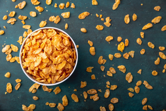 Cornflakes in a bowl on a nice underground