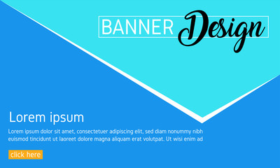 Blue banner template. Web banner, Abstract poster, Brochure