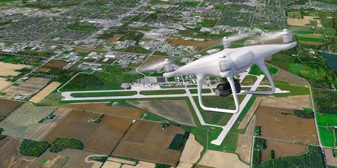 Drohne fliegt ueber Flughafen Heathrow London