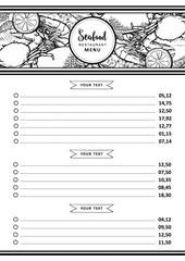 Vector illustration of seafood restaurant or market menu or price list template with various aquatic animals and spices in header. Layout with hand drawn line sea and ocean food for marine design.