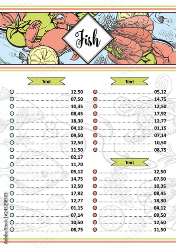 Vector Ilration Of Seafood Restaurant Or Market Menu Price List Template With Various Aquatic Animals