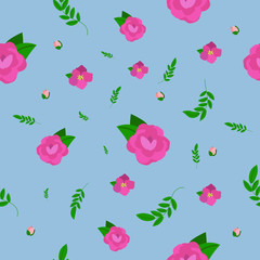 Vector Flower Pattern with Pink Flowers on blue Background