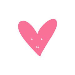 Heart cute funny character sticker. Vector illustration.