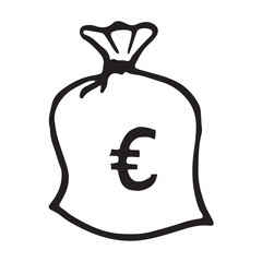 Doodle money bag icon with euro pattern