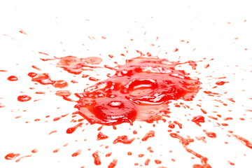 Blood splatter, dripping isolated on white background