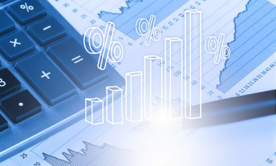 Poster de jardin Buffet, Bar Calculator, pen and the financial report. Close up