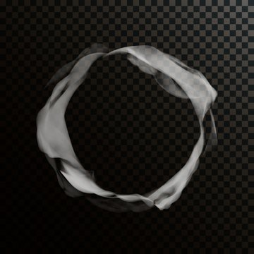 Vector Smoke Ring. Abstract Realistic Circle Smoke Texture. Template Transparent Cloud Shape