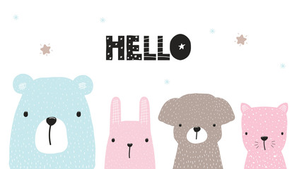 Cute kids print or poster with hand drawn animals and quote. Vector illustration.