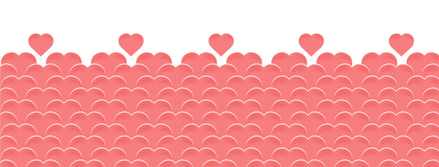 Vector horizontal background to happy Valentines day with balloons in the form of hearts of pink or coral color. Template cover page for site, social network, greeting card or invitation.