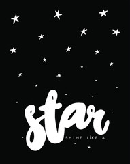 Star writing with text in vector