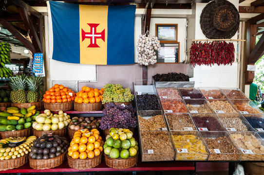 Fruit and vegetable stall in market