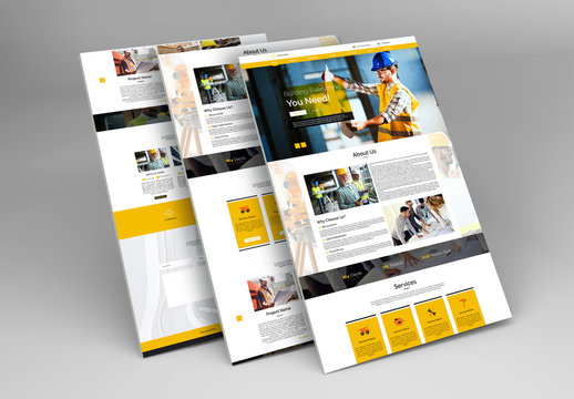 Construction Website Layout with Orange Accents