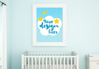 Vertical Frame on Blue Nursery Wall Mockup