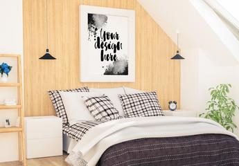 Vertical Frame on Wooden Bedroom Wall Mockup