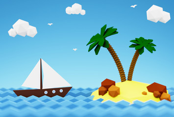 Sailboat in the sea near a desert island with palm trees.  3D illustration - summer vacation at sea.