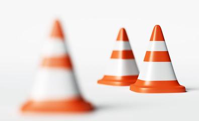 Traffic cones, selective focus 3d rendering illustration