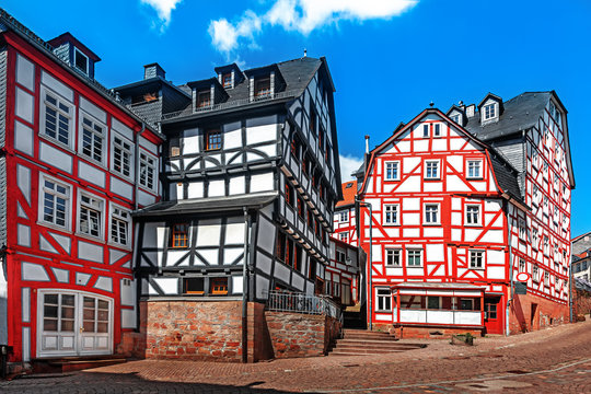 Historic streets of the old quarters of Marburg.