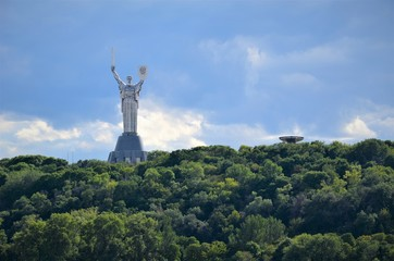 View of Kiev from the middle of the Dnieper River.
