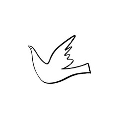 One line dove illustration, hand drawn ink style. Vector and jpg image.