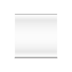 Vector blank promo wide square roll up banner display for presentation, advertisement and exhibition. Mock up isolated on a white background.