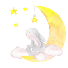 Watercolor illustration with cute rabbit, moon, stars and clouds