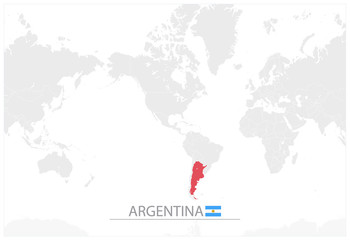 World Map with identification of Argentina