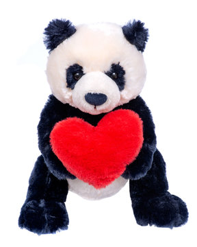 Panda bear stuffed plush toy with red fluffy heart isolated on white background.