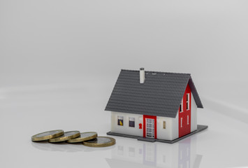 house and money - concept image - costs for a house