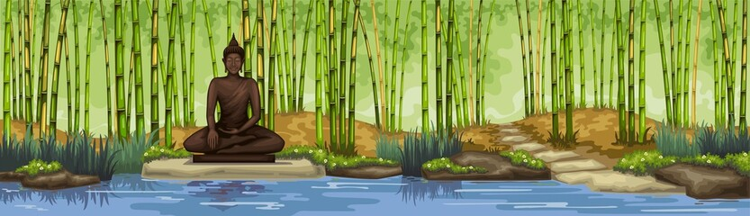 Bamboo forest with buddha statue.Meditation.Trop[cal garden.