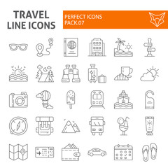 Travel thin line icon set, tourism symbols collection, vector sketches, logo illustrations, holiday signs linear pictograms package isolated on white background.
