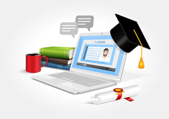 Vector design depicting a laptop with online learning software. The e-learning system.