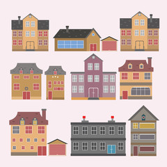 Buildings and modern city houses flat design of retro and modern city houses. Old buildings, skyscrapers. colorful cottage building, cafe house. White background. Vector illustration.