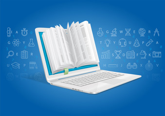 A laptop with a general knowledge book. An e-learning system.