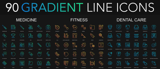 90 trendy gradient style thin line icons set of medicine, fitness, dental care isolated on black background.