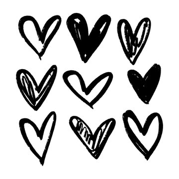 Brush hand drawn hearts. Valentine's day theme, design elements