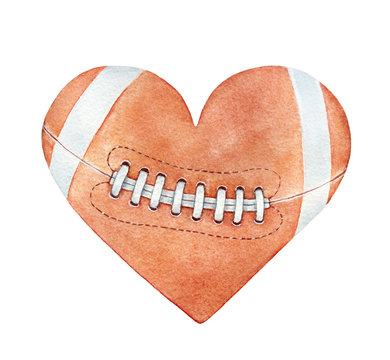 American football ball in heart silhouette. Red-brown color, white stripes, close up. Handdrawn watercolour drawing on white backdrop, cutout clipart element for design, fashion prints, decoration.