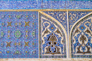 Ornate tile patterns of Jameh Mosque, Isfahan, Iran