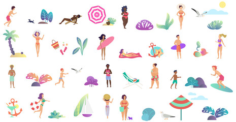 Beach vacation summer people activities set. Dancing, surfing, playing, eating, sunbathing, surfing and posing isolated vector illustration.