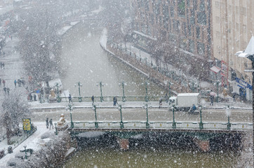 Snowfall  in the city, top view,