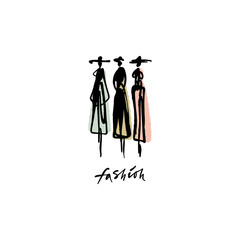 Fashion models hand drawn sketch, stylized ink silhouettes isolated on white background